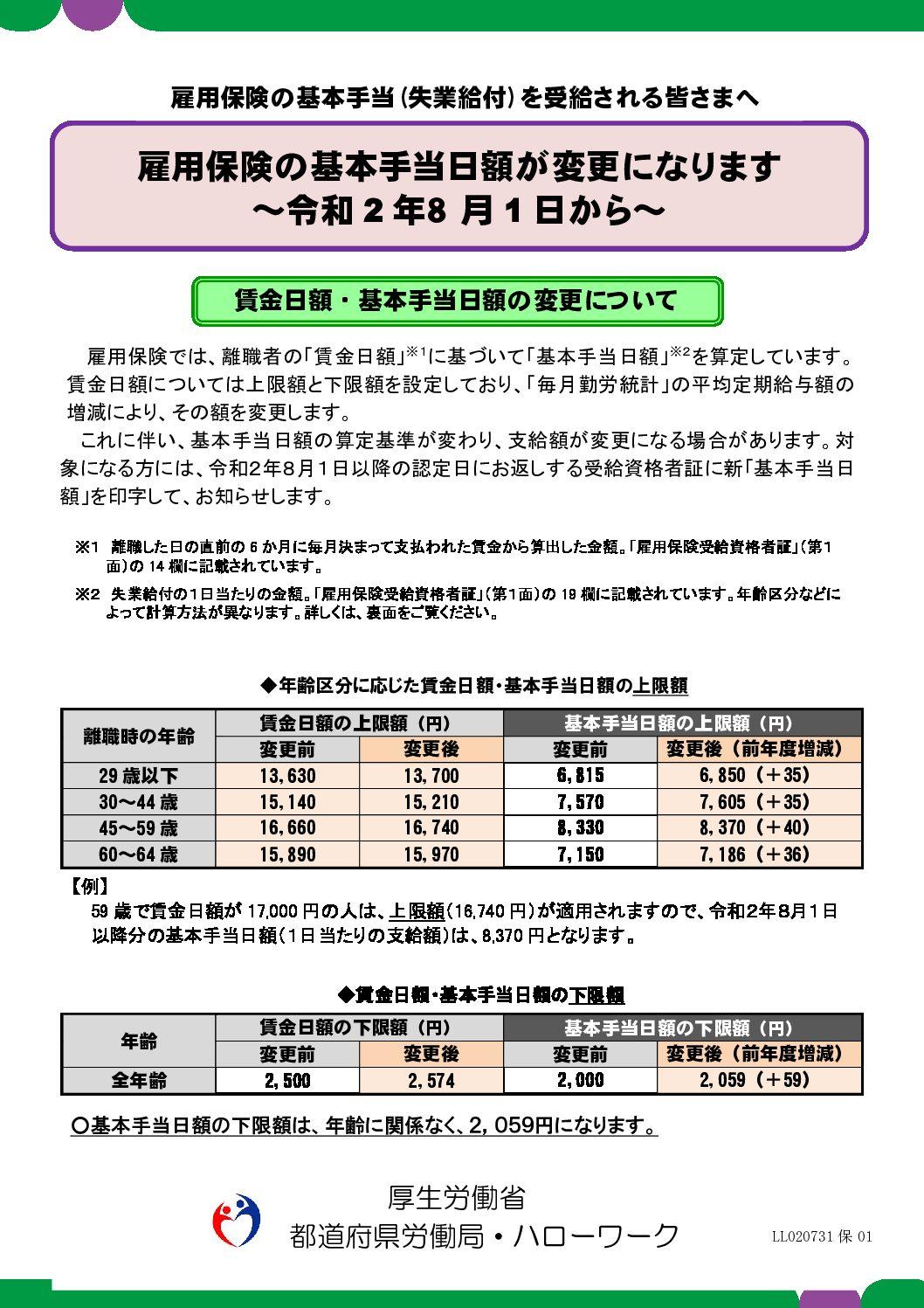 雇用保険の基本手当日額の変更【令和2年8月1日から】