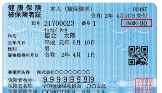 協会けんぽの健康保険証の変更【枝番印字】